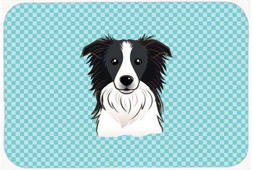 Caroline's Treasures BB1179MP Checkerboard Blue Border Collie Mouse Pad, Hot Pad or Trivet, Large, Multicolor