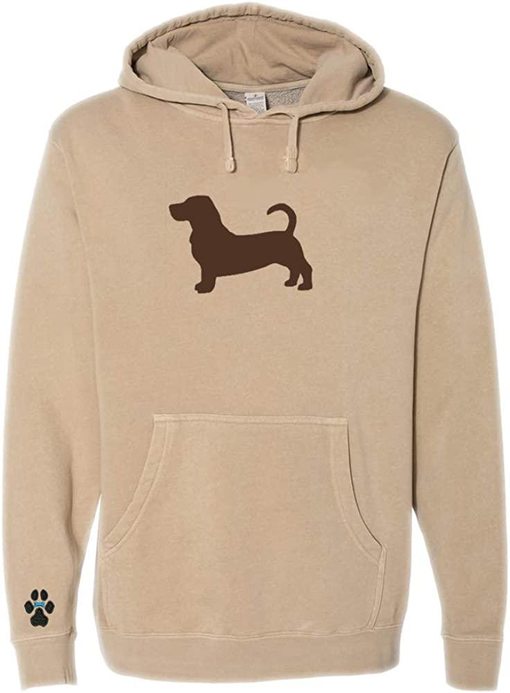 Heavyweight Pigment-Dyed Hooded Sweatshirt with/Basset Hound Silhouette