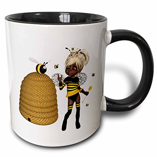 Mug American African (3dRose mug_263242_4 African American Bumble Bee Fairy and Honey Pot Floral Ceramic, 11oz, Black/White)