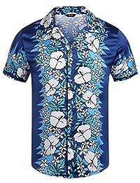 COOFANDY Men's Casual Short Sleeve Button Down Hibiscus Hawaiian Aloha Shirt