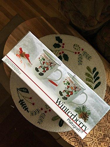 Pfaltzgraff Winterberry Mug Porcelain Naughty And Nice (Set of 2), 20 oz, Assorted  - -