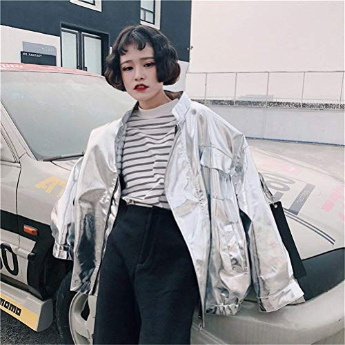 Donne Relaxed Jacket Coole Colore Donna Lunghe Casual Hop Hip Giacche Puro Autunno Ragazze Maniche Baseball Giacca Silber Tendenza Fashion Outerwear Streetwear Classiche qfqvRB
