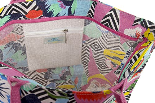 Bolsa playa piscina mujer G. VENTURI rosa de hombro 100 % yute