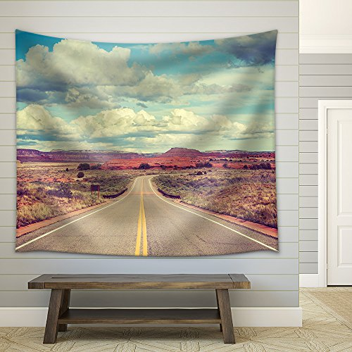 Vintage Stylized Desert Road Travel Concept Fabric Wall