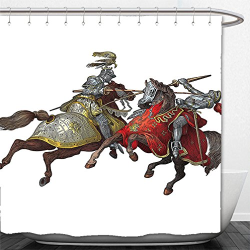 Renaissance Costumes Houston - Interestlee Shower Curtain Medieval Decor Collection Middle Age Fighters Knights with Ancient Costume Renaissance Period Illustration Artwork Multi