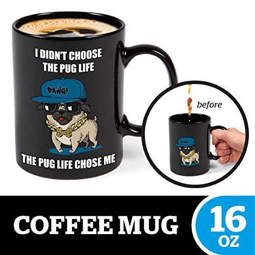 (BigMouth Inc Color Changing Pug Mystery Mug, Holds 16oz, Ceramic Cup for Coffee and Tea with Handle, Funny Novelty Cup)