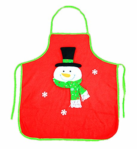 ALIMITOPIA Christmas Apron,Adult Santa Flannel Apron Xmas Holiday Decorative Costume Accessory(1pc,Snowman Pattern)