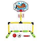 Geekper Multi-Sport Floating Reinforced Basketball and Soccer Goal Pool Set,with 2 Nets,2 Small Inflatable Balls and Pump