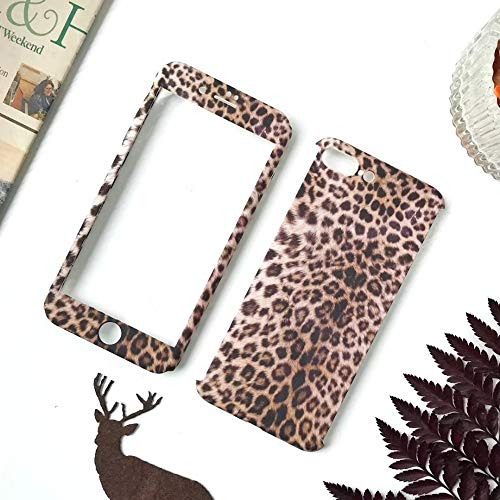 Maxlight 360 Full Body Leopard Phone Cases for iPhone 7 8 Plus Hard PC Back Cover Case for iPhone X XS MAX XR Tempered Glass (Style2, for iPhone 7plus 8plus) (Sena Iphone 4s Leather Case)