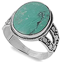 Beautiful Natural Green Turquoise Solid Sterling silver Ring Sizes 6 - 9 from Oxford Diamond Co
