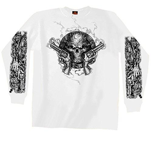Hot Leathers Men's Assassin Ring Long Sleeve Shirt (White, XXX-Large)