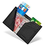 New-Bring Men's RFID Blocking Slim Leather Wallet Small Bifold Front Pocket Wallet Minimalist Credit Card Holder (black)