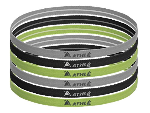 Athle` Non Slip Skinny Sport Headbands With Silicon Grip - 6pk