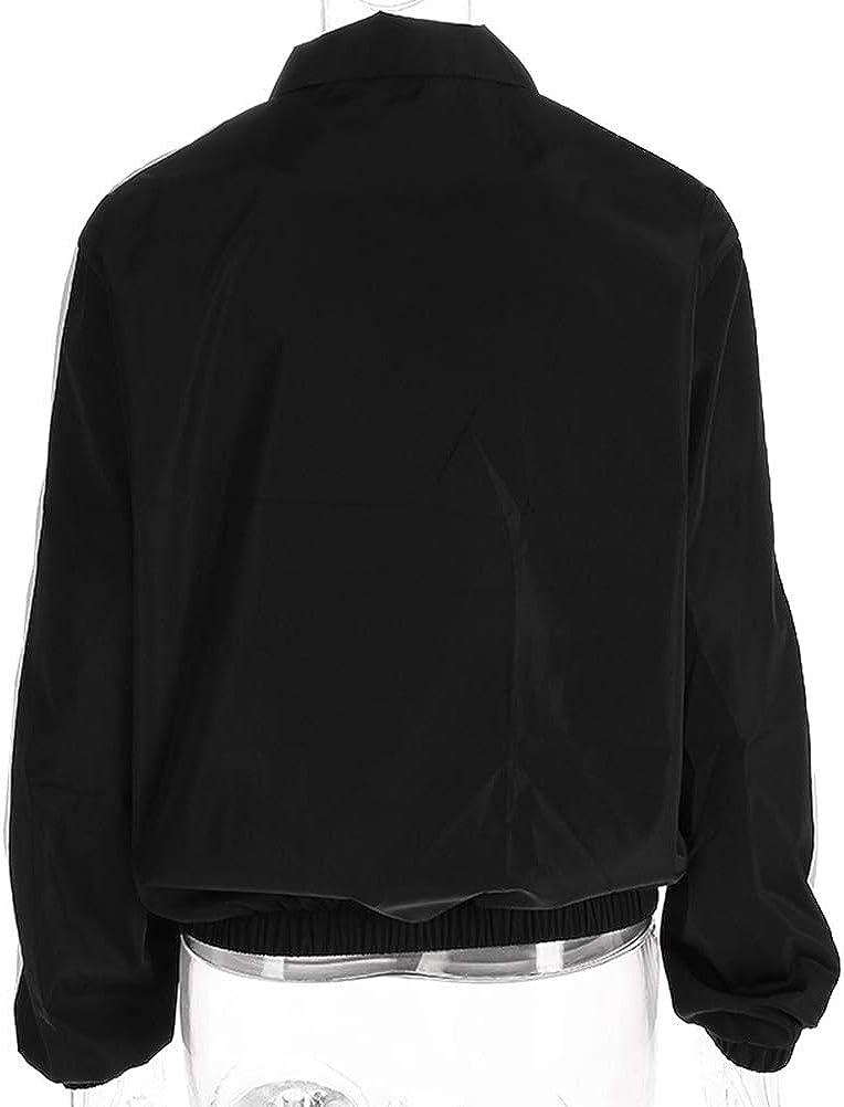 YAXAN Womens Zipper Loose Stitching Three-Color Patchwork Windbreaker Jacket Coats