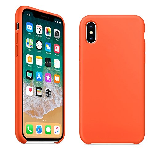 LINDIANSHUMA iPhone X Silicone Case, Soft Liquid Silicone Protective Cover Smooth Shockproof DropProof Shell for Apple iPhone X/10 5.8 inch(Spicy Orange)