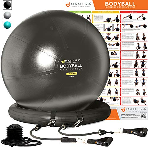 Exercise Ball Chair - 65cm & 75cm Yoga Fitness Pilates Ball & Stability Base for Home Gym & Office - Resistance Bands, Workout Poster & Pump. Improves Balance, Core Strength ()