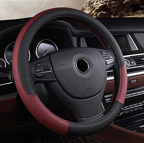 (BAUZEIT Universal Car Steering Wheel Covers 15 inch/37-39cm Protector - Microfiber Leather, Breathable, Anti Slip Automotive Cover Protection for Auto SUV Vehicles Truck Lorry Van,Wine Red)