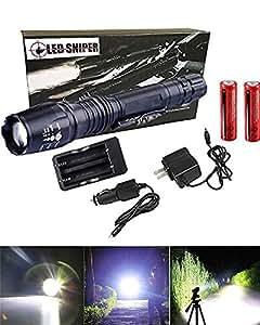 Ledsniper® Brightest Rechargeable LED Flashlight 2000lm Lumen 5 Mode Cree Xm-l T6 LED Flashlight + 18650 Battery + Charger