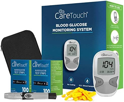 Care Touch Diabetes Blood Sugar Kit – Care Touch Blood Glucose Meter, 200 Blood Test Strips, 1 Lancing Device, 30 Gauge Lancets-with Carrying Case