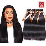 ALLRUN Hair Brazilian Straight Virgin Hair 3 Bundles With Free Part Closure Human Hair Bundles with Closure 100% Unprocessed Human Hair Bundles Hair Extensions Natural Color(22 24 26+20'' Closure)