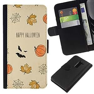 All Phone Most Case / Oferta Especial Cáscara Funda de cuero Monedero Cubierta de proteccion Caso / Wallet Case for LG G2 D800 // Happy Bat Pumpkin Fall Leaves