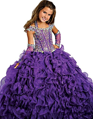 Y&C Girls Halter Chest Full Crystal Ball Gown Floor Length Pageant dress 8 US Purple -