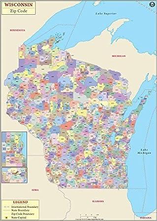 Wisconsin Zip Code Map Amazon.: Wisconsin Zip Codes Map   Laminated (36