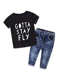 XUNYU 2-7T Baby Boys Children Letter T Shirt Jeans Clothes Cartoon Sets