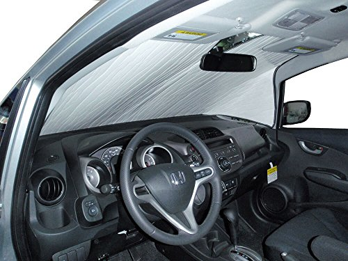 The Original Windshield Sun Shade, Custom-Fit for Honda Fit Hatchback (5D) 2009, 2010, 2011, 2012, 2013, 2014, Silver Series
