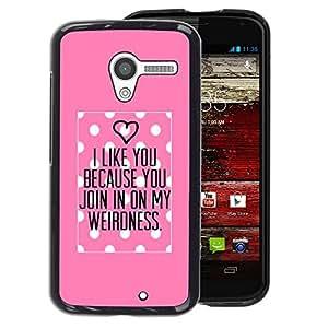 A-type Arte & diseño plástico duro Fundas Cover Cubre Hard Case Cover para Motorola Moto X 1 1st GEN I (Polka Dot Pink Love Valentines Couple)