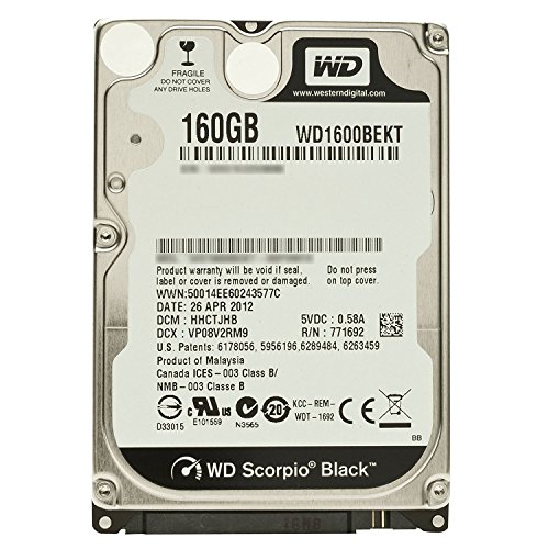 Western Digital (WD) Black 160 GB (160gb) Mobile Hard Drive: 2.5 Inch, 7200 RPM, SATA II, 16 MB Cache-1 Year Warranty for Laptop, Mac, PC, and PS3