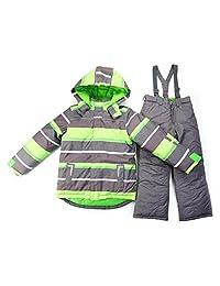 Hiheart Boys' Heavyweight Snowsuit Jacket + Pants 2 PCS Set Hooded Snow Coat