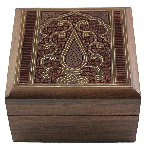 san, Handmade & Handcrafted Wooden Jewelry Box/Jewelry Storage Organizer/Trinket Jewelry Box with Traditional Design and Brass Inlay Work (Handmade Costume Jewelry)