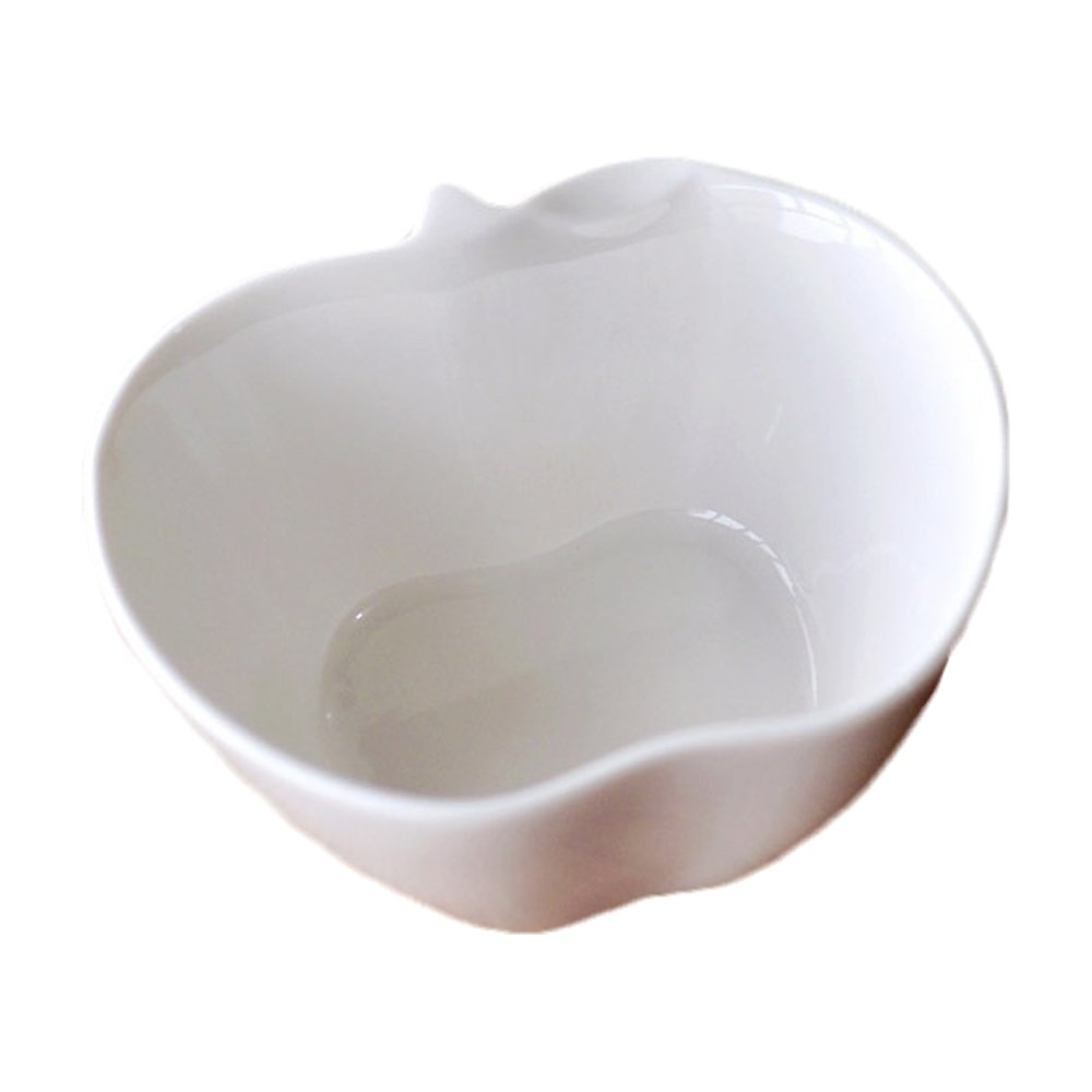 Simplicity Style 3D Novelty Porcelain Apple Shaped Dessert Bowls Pudding Bowl Cake Cup for Baking Pure White Creative Ceramic Ice Cream Bowl Fruit Mousse Bowl Sauce Bowls Cup Dish for Nuts/Fruit/Corn