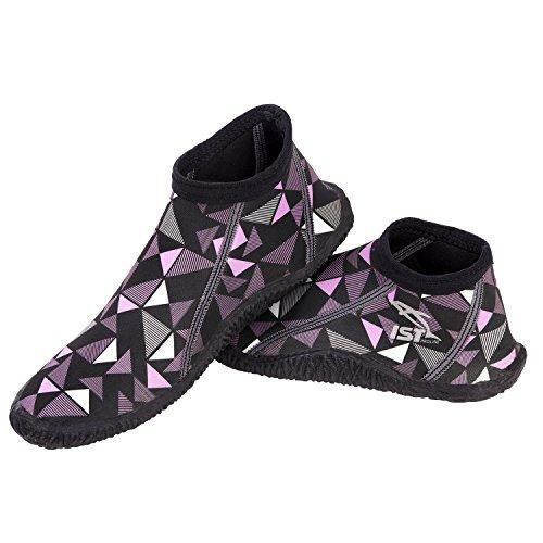 IST Short Low Cut Boots High Grade 3MM Neoprene (Geometric Purple, Men's 8 / Women's ()