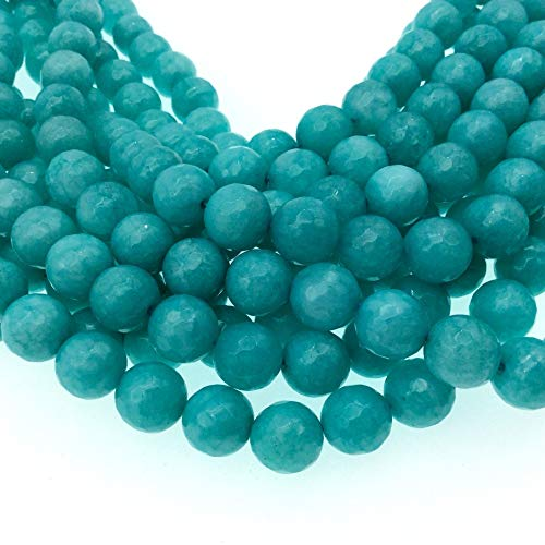 10mm Faceted Dyed Turquoise Blue Natural Jade Round/Ball Shape Beads with 1mm Beading Holes - Sold by 14.5