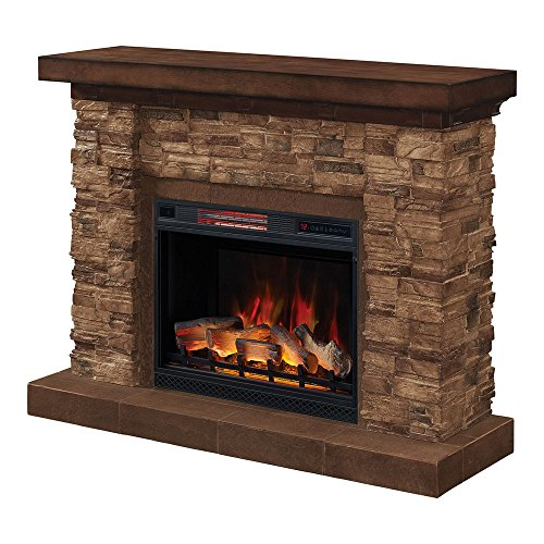 anyon Stone Electric Fireplace Mantel Package, Midnight Cherry - 28WM9185-S250 (Classic Stone Fireplace Mantel)