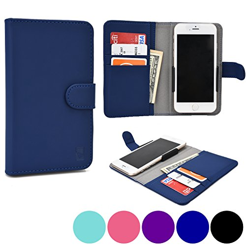 Cooper Cases(TM) Slider BLU Studio Mini LTE / Studio C Mini / Tank 4.5 Wallet Case in Blue (Rear-Camera Access; Credit Card Slots, Slip Pocket; Magnetic Cover Lock)