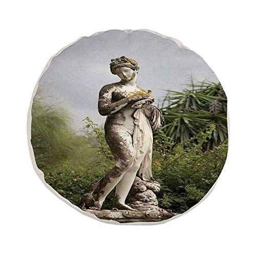 Sculptures Decor Stylish Round Throw Pillow,Sculptured Figure among Greenery on the Grounds of the Achillion Palace Corfu Island for Bedroom Living Room,Pillow Case: 17.7