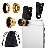 Gold Clip On 180 Degrees Portable 3 in 1 Camera Lens Kit - FishEye - Wide Angle - Macro for Samsung Galaxy A5 2017