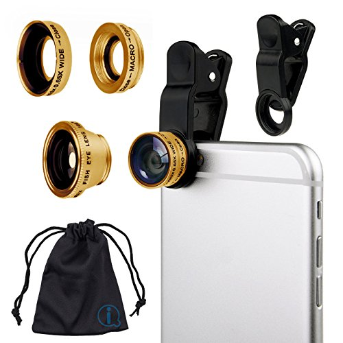Gold Clip On 180 Degrees Portable 3 in 1 Camera Lens Kit - FishEye - Wide Angle - Macro for LG E900 Optimus 7