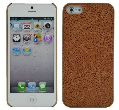 Suncase Ledercase für das  Apple iPhone 5 / 5S mit gratis Displayschutzfolie in croco-braun