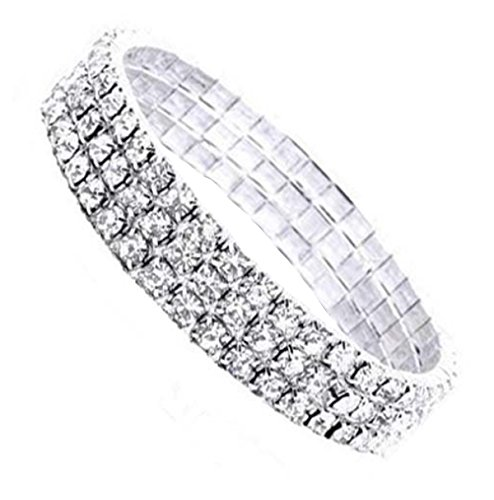 Flower Girl Diamante Rhinestone Crystal Stretch 3-row Silver Tone Bracelet - Ideal for wedding party