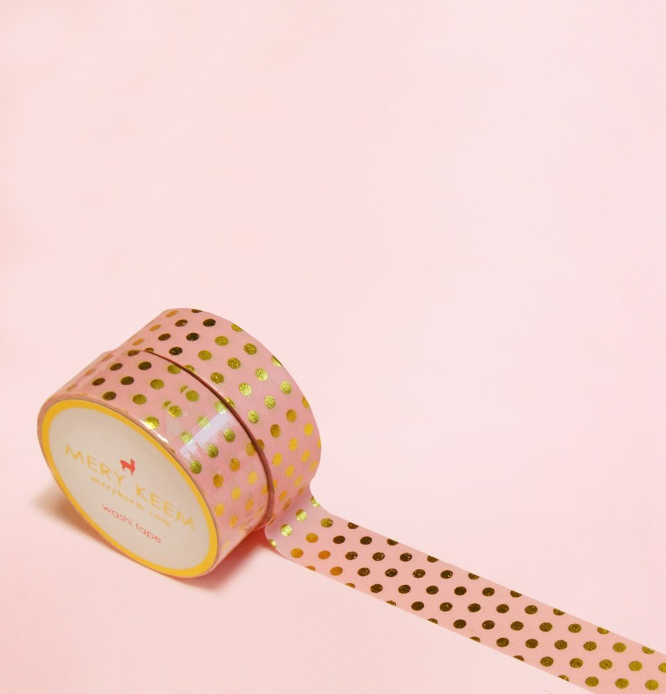 Pink with Polka Dots in Gold Foil Washi Tape for Planning /• Scrapbooking /• Arts Crafts /• Office /• Party Supplies /• Gift Wrapping /• Colorful Decorative /• Masking Tapes /• DIY