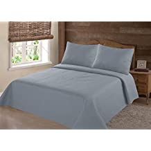 NEW 2/3PC NENA BED BEDSPREAD QUILT SET COVERLET SOLID STIPPLING STITCHE MODERN /Queen -Slate Blue