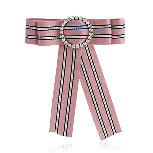 Sunvy Girls Bow Tie Women Fashion Bowties Rhinestore Crystal Dangle Wedding Party Bow Tie Women/Girls Ribbon Pre Tied Neck Tie stripe Adustable Brooch Pin Clip (Pink) Pink Ribbon Tie