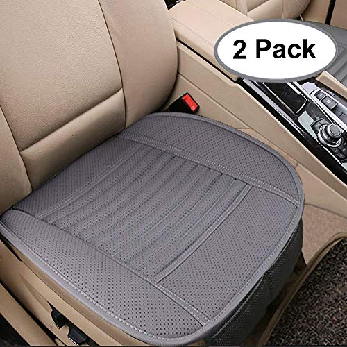 Big Ant Breathable 2pc Car Interior Seat Covers Cushion Pad Mat for Auto Supplies Office Chair with PU Leather(Grey) ()