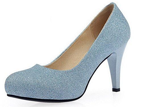 AllhqFashion Damen Rund Zehe Stiletto Lackleder Rein Ziehen Auf Pumps Schuhe Blau