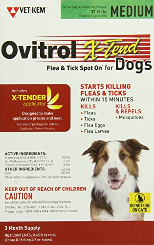 Vet-Kem Ovitrol 3-Pack X-Tend Pest Control Spot on for Dog, 32 to 55-Pound/Medium