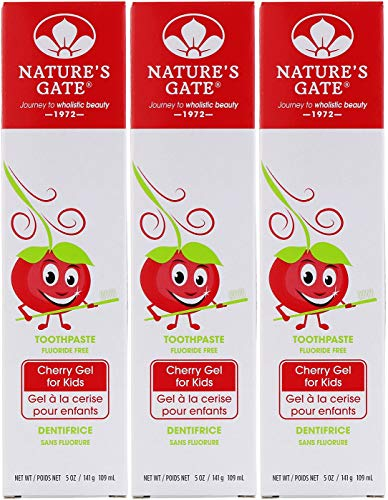 Nature's Gate, Fluoride Free Toothpaste, Cherry Gel for Kids, 5 oz (141 g)(pack of 3) (Natures Toothpaste Kids Gate)